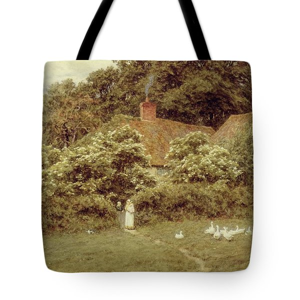 A Cottage At Farringford Isle Of Wight Tote Bag by Helen Allingham