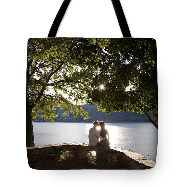 A Couple Kisses At An Overlook Tote Bag