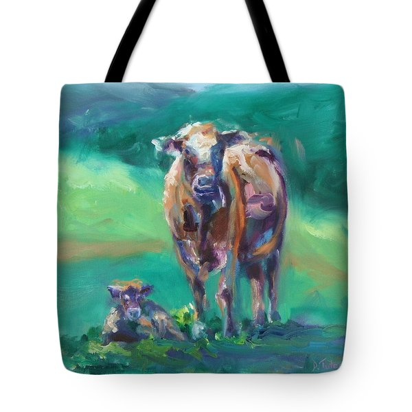A Cow And Her Calf Tote Bag by Donna Tuten