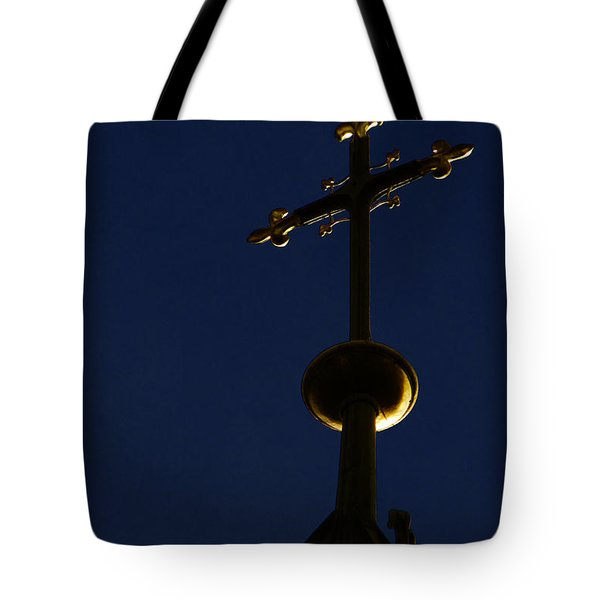 A Cross On St Vitus Cathedral Prague Tote Bag by Christine Till