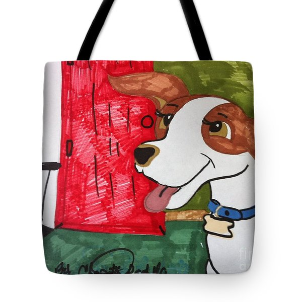 A Dog Is Heading Out The Door. Tote Bag