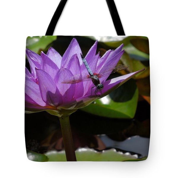 A Dragonfly Guarding His Water Lily Tote Bag