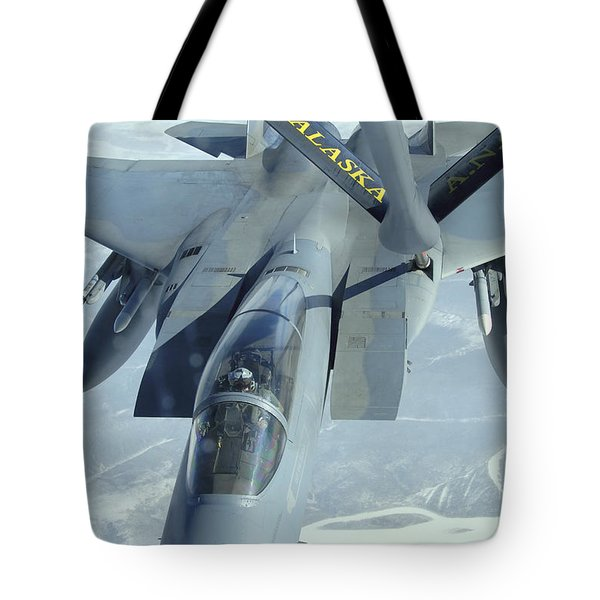 A F-15 Eagle Receives Fuel Tote Bag by Stocktrek Images