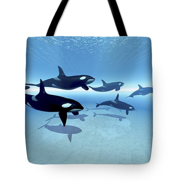 A Family Of Killer Whales Search Tote Bag by Corey Ford