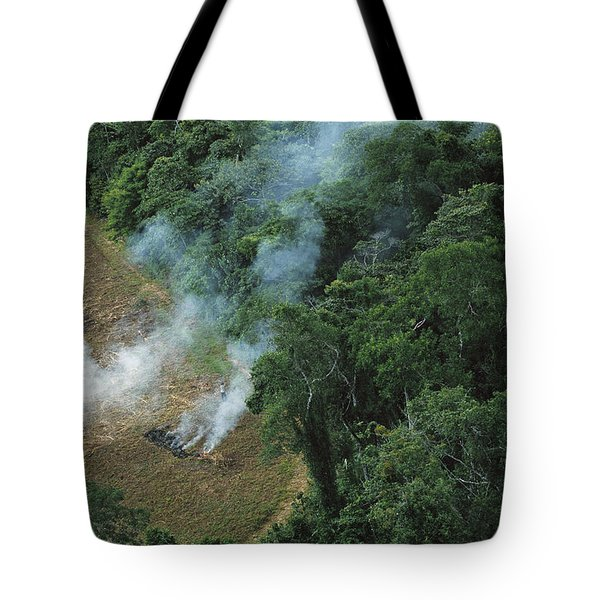 A Farmer Burns His Agricultural Field Tote Bag