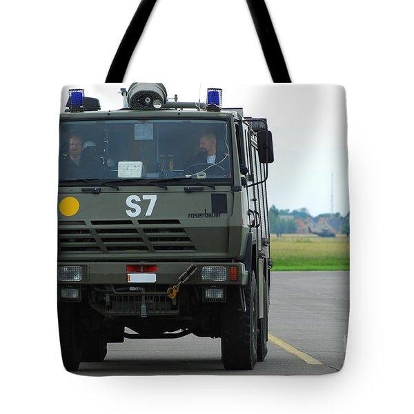 A Fire Engine Based At The Air Force Tote Bag by Luc De Jaeger