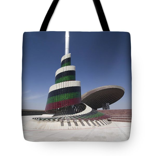 A Flagpole Covered In Plates Of Murano Tote Bag by Terry Moore