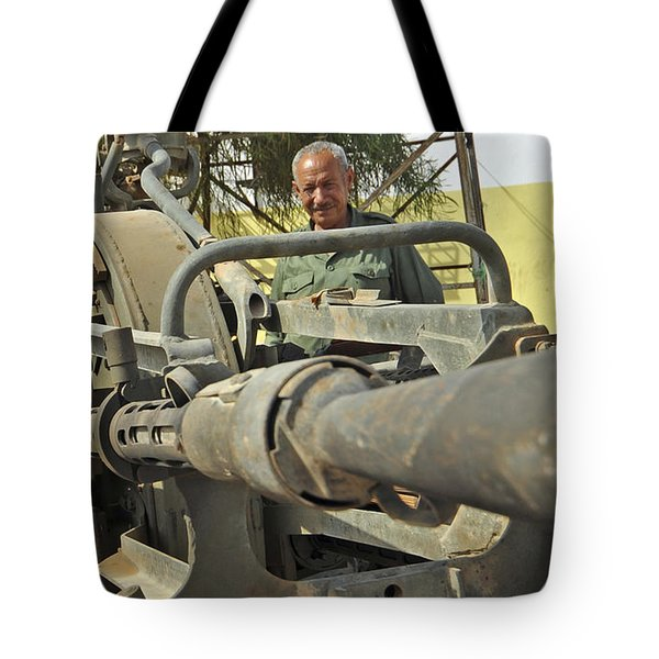 A Free Libyan Army Soldier Mans Tote Bag by Andrew Chittock