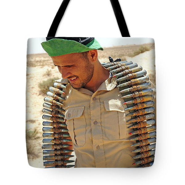 A Free Libyan Army Soldier With An Tote Bag by Andrew Chittock