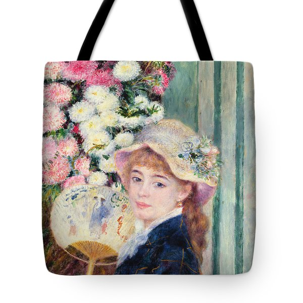 A French Girl With A Fan Tote Bag by Pierre Auguste Renoir
