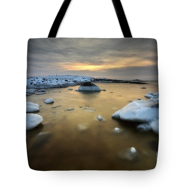 A Frozen, Rusty Bay On Andoya Island Tote Bag by Arild Heitmann