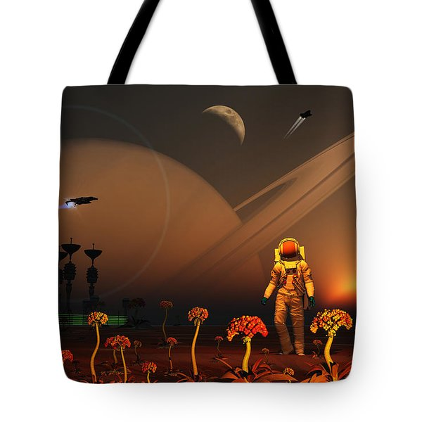 A Futuristic Outpost On The Moon Tote Bag by Mark Stevenson