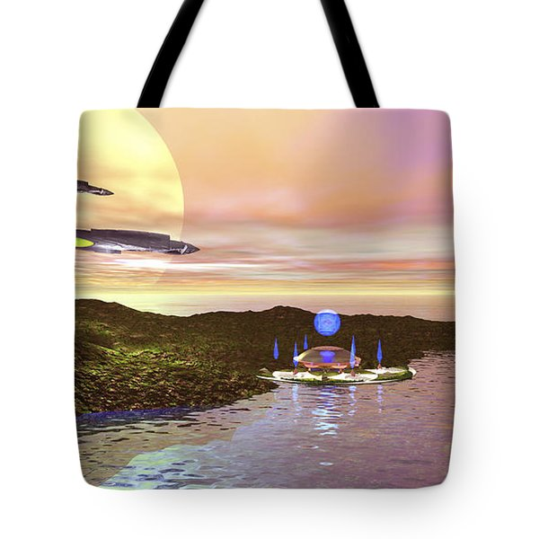 A Futuristic World On Another Planet Tote Bag by Corey Ford