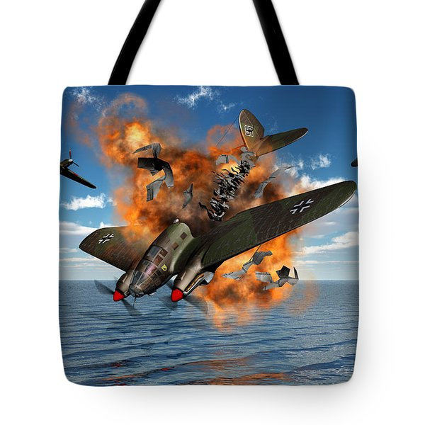 A German Heinkel Bomber Crashes Tote Bag by Mark Stevenson