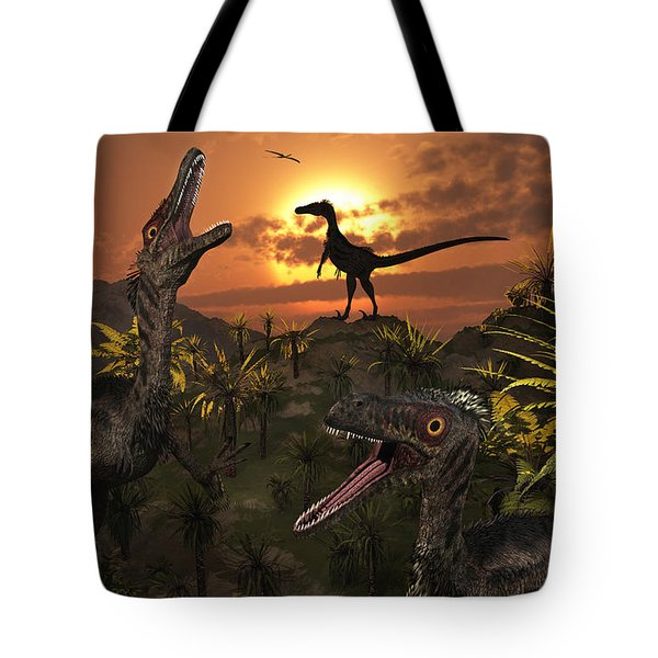 A Group Of Feathered Carnivorous Tote Bag by Mark Stevenson