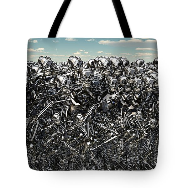 A Large Gathering Of Robots Tote Bag by Mark Stevenson