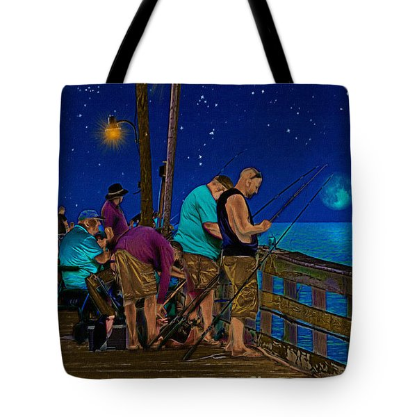 A Little Night Fishing At The Rodanthe Pier Tote Bag by Anne Kitzman