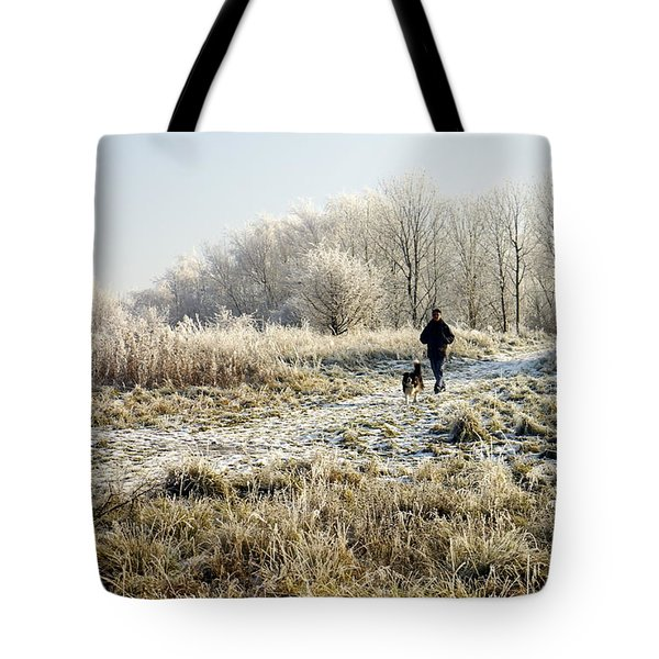 A Man And His Dog Tote Bag by John Chatterley