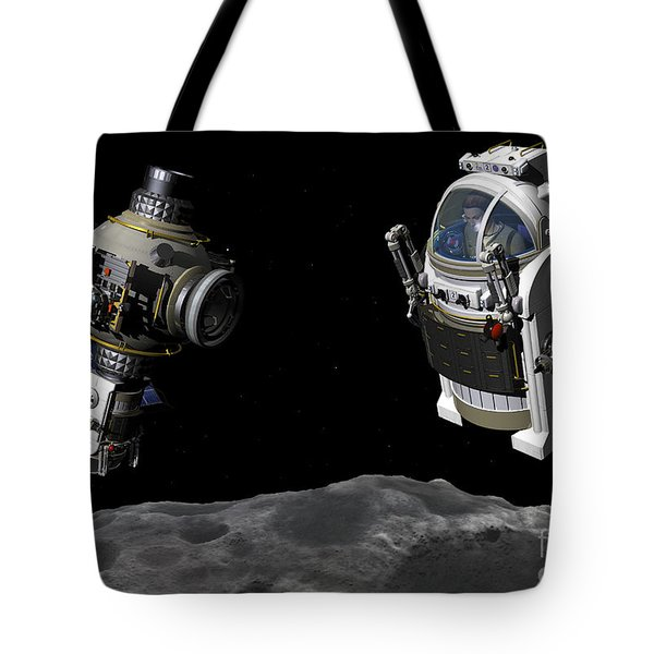 A Manned Maneuvering Vehicle Prepares Tote Bag by Walter Myers