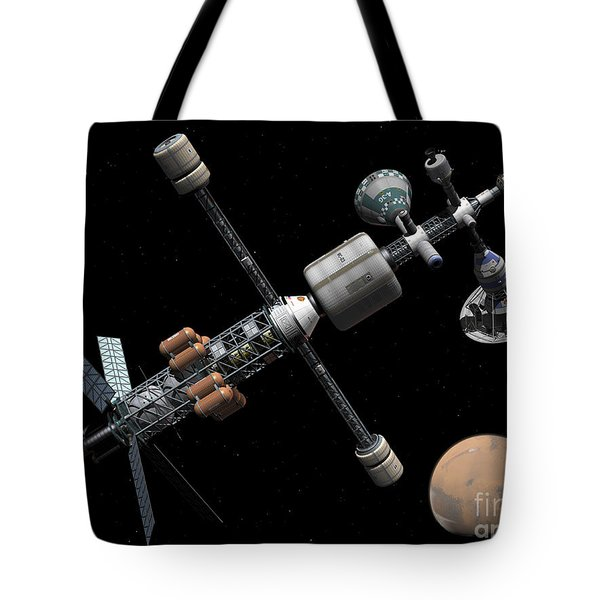 A Manned Mars Cycler Space Station Tote Bag by Walter Myers