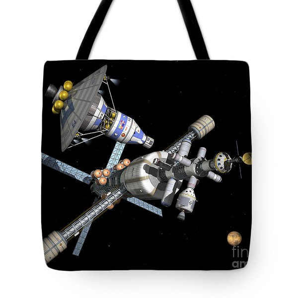 A Manned Mars Landerreturn Vehicle Tote Bag by Walter Myers