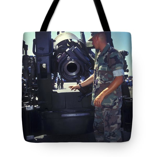 A Marine Instructs How To Pen Tote Bag by Michael Wood