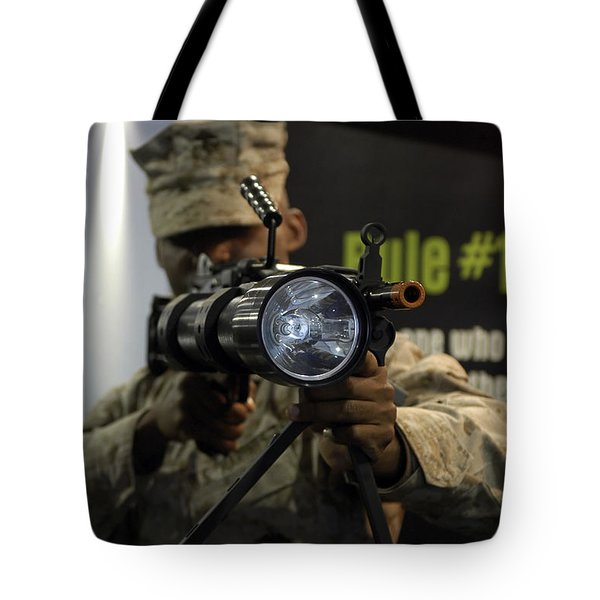 A Marine Tests The Night Hunter II Tote Bag by Stocktrek Images