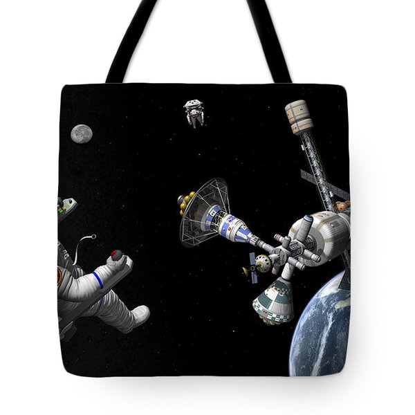 A Mars Cycler Travels By The Earth Tote Bag by Walter Myers