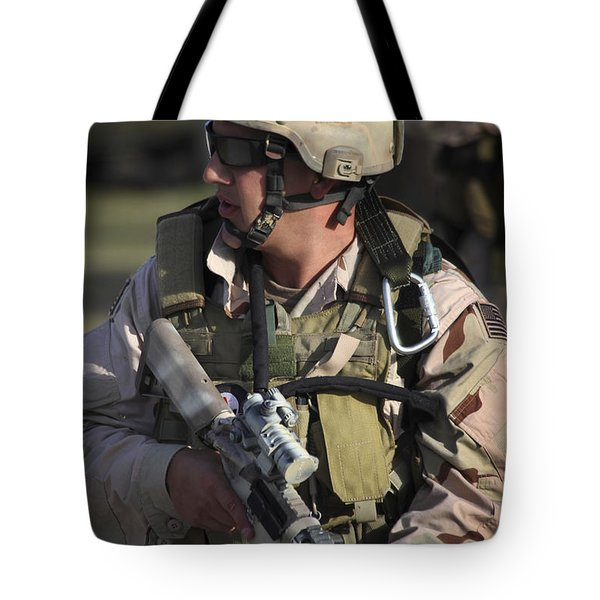 A Military Reserve Navy Seal Kneels Tote Bag by Michael Wood