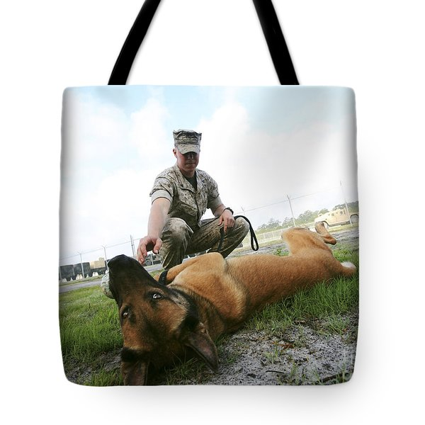 A Military Working Dog Handler Takes Tote Bag