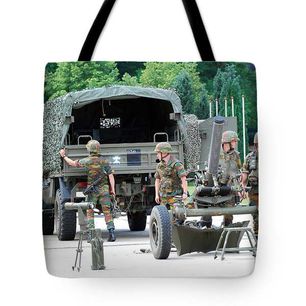 A Mortar Section Of The Belgian Army Tote Bag by Luc De Jaeger