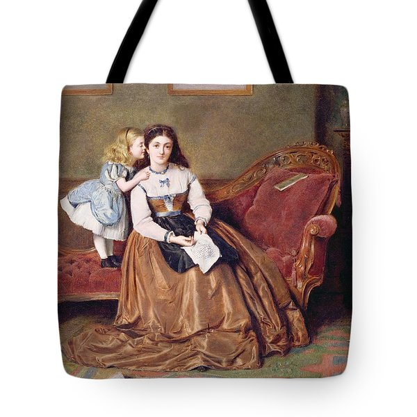 A Mother's Darling Tote Bag by George Goodwin Kilburne