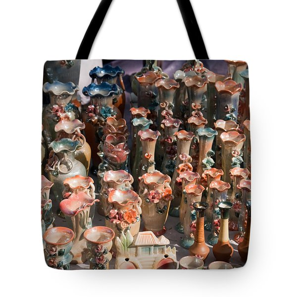 Tote Bag featuring the photograph A Number Of Clay Vases And Figurines At The Surajkund Mela by Ashish Agarwal