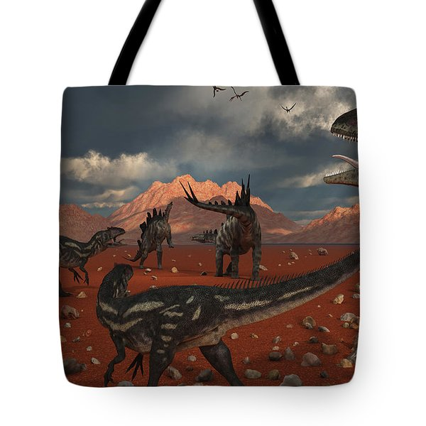 A Pack Of Allosaurus Dinosaurs Track Tote Bag by Mark Stevenson