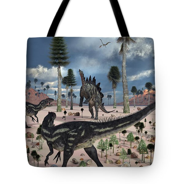A Pair Of Allosaurus Dinosaurs Confront Tote Bag by Mark Stevenson