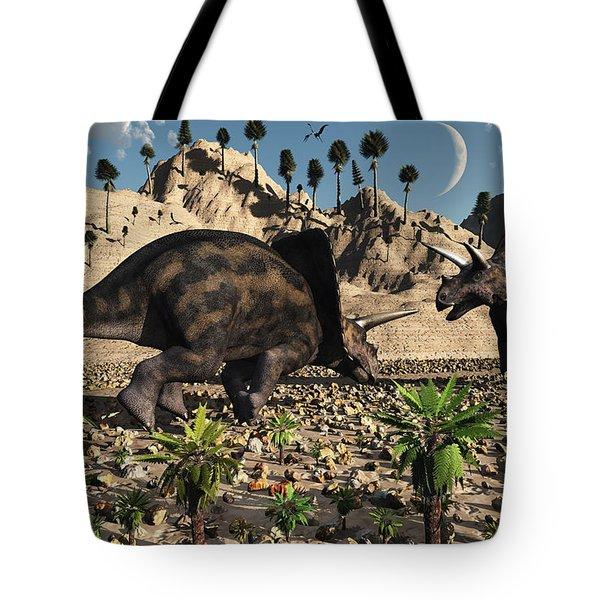 A Pair Of Torosaurus Dinosaurs Fight Tote Bag by Mark Stevenson
