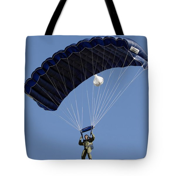 A Paratrooper Descends Through The Sky Tote Bag by Stocktrek Images