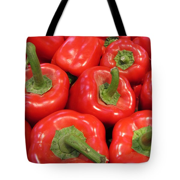 A Peck Of Red Peppers Tote Bag by Kathy Clark