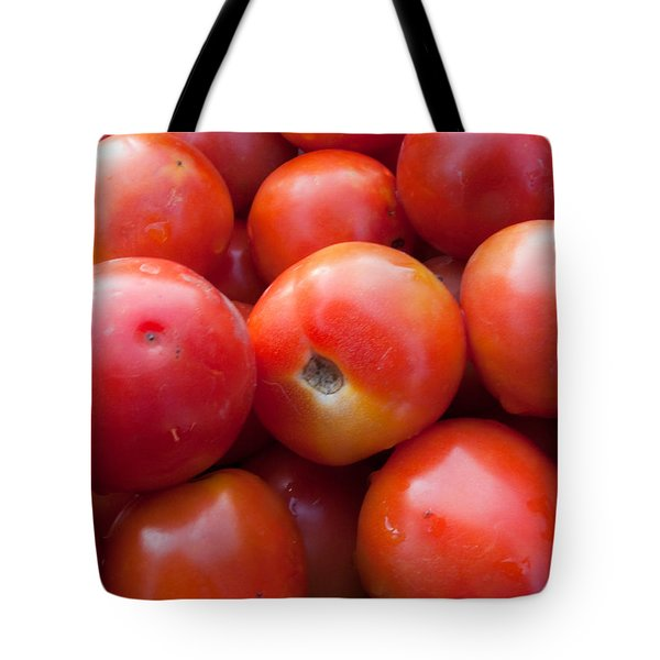 A Pile Of Luscious Bright Red Tomatoes Tote Bag by Ashish Agarwal