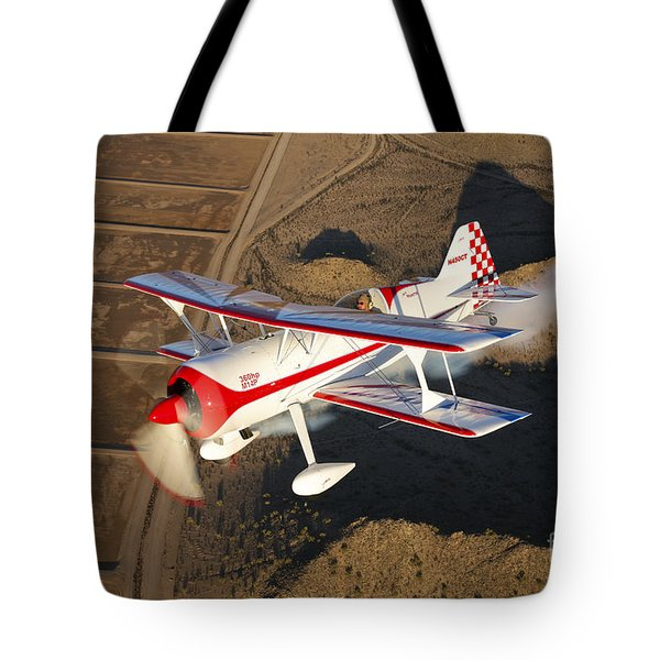 A Pitts Model 12 Aircraft In Flight Tote Bag by Scott Germain