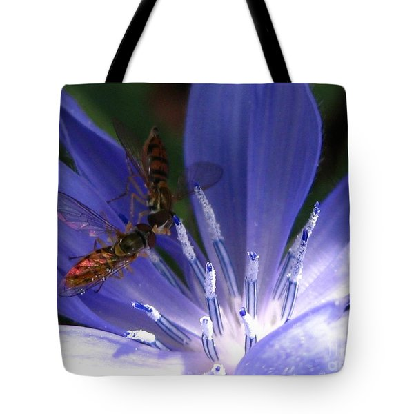 Tote Bag featuring the photograph A Quiet Moment On The Chicory by J McCombie