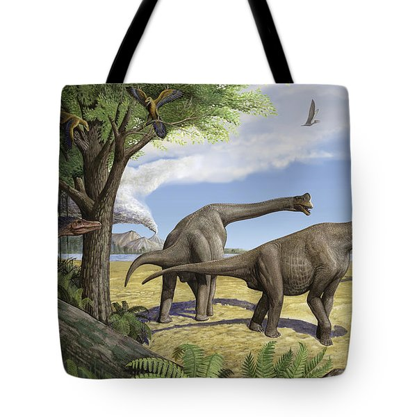 A Raptor Stalks A Pair Of Grazing Tote Bag by Sergey Krasovskiy