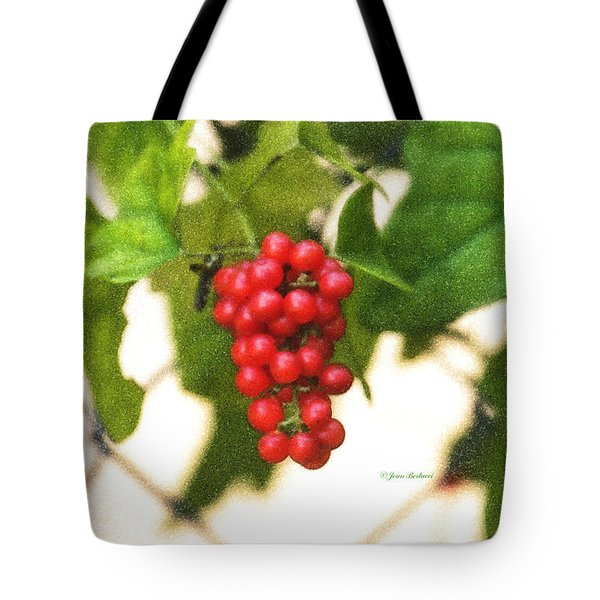 Tote Bag featuring the photograph A Red Cluster by Joan Bertucci
