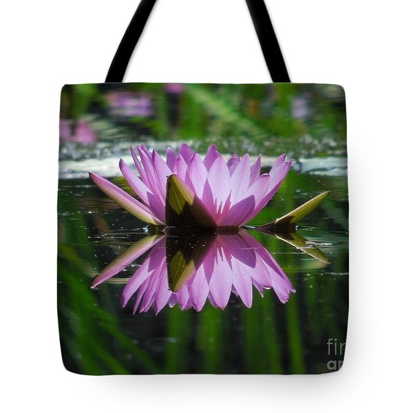 A Reflection Of A Fuchsia Water Lily Tote Bag