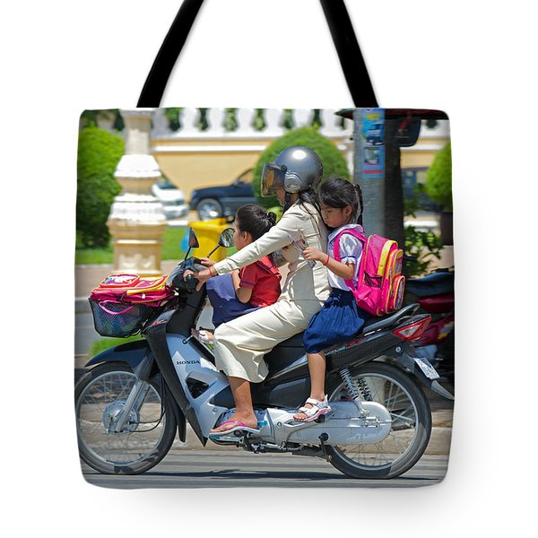 A Ride To School. Tote Bag by David Freuthal