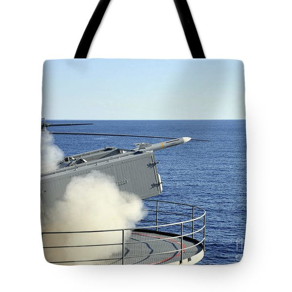 A Rim-7 Sea Sparrow Is Launched Tote Bag by Stocktrek Images