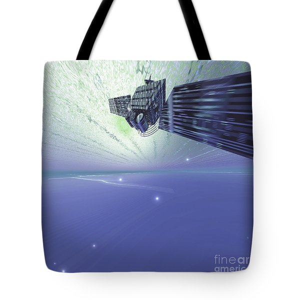 A Satellite Out In The Vast Beautiful Tote Bag by Corey Ford