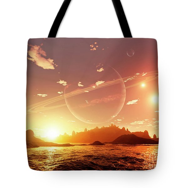 A Scene On A Distant Moon Orbiting Tote Bag by Brian Christensen