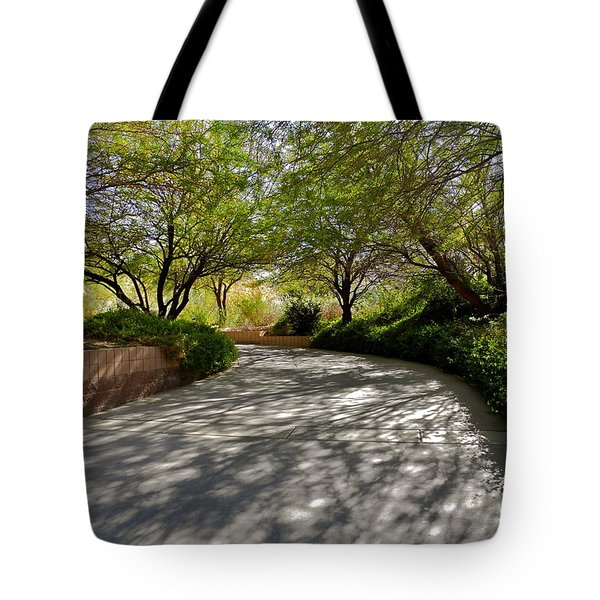 A Shadowed Drive In Palm Desert Tote Bag