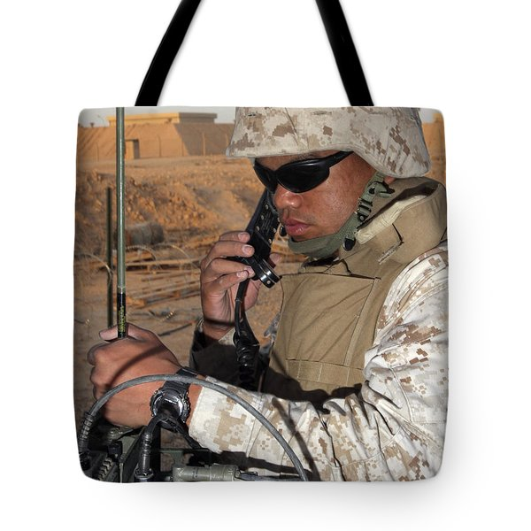 A Single-channel Radio Operator Works Tote Bag by Stocktrek Images